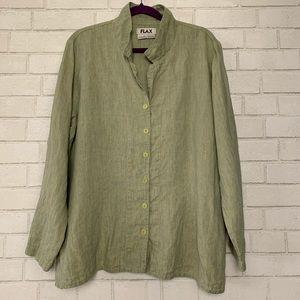 Flax Green 100% Linen Button Front Lagenlook L